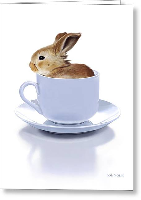 White Fur Greeting Cards - Morning Bunny Greeting Card by Bob Nolin