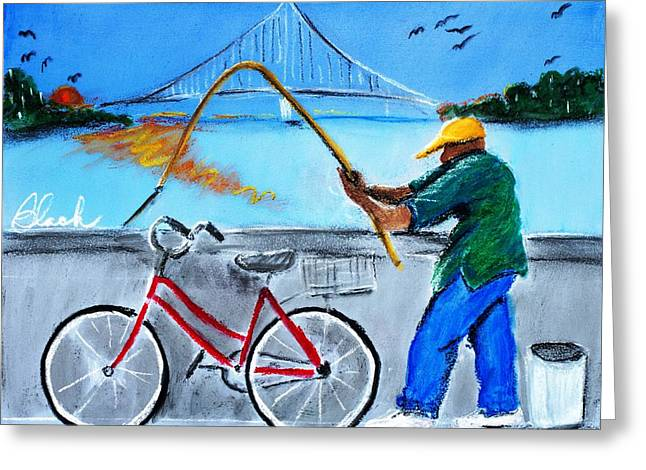 Chicago Pastels Greeting Cards - Morning Catch Greeting Card by Charlie Black