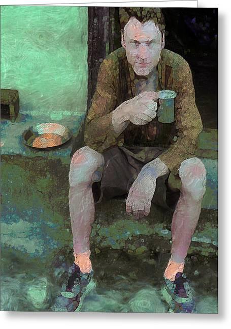 Coffee Drinking Digital Art Greeting Cards - Morning Coffee Greeting Card by Carl Rolfe