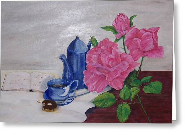 Morning Coffee Greeting Card by Penny Everhart