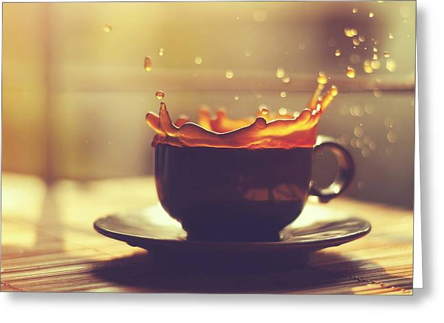 Splash Greeting Cards - Morning Coffee Splash Greeting Card by Ashraful Arefin