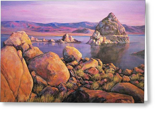 Donna Tucker Greeting Cards - Morning Colors at Lake Pyramid Greeting Card by Donna Tucker