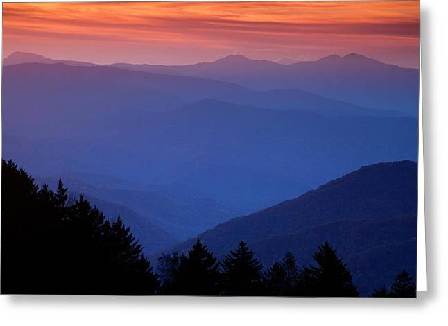 Great Smoky Mountains Greeting Cards - Morning Colors in the Smokies Greeting Card by Andrew Soundarajan