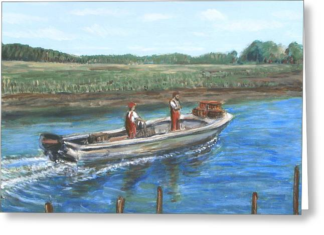 Fishing Creek Greeting Cards - Morning Crabbers Greeting Card by Brendan  Quirk