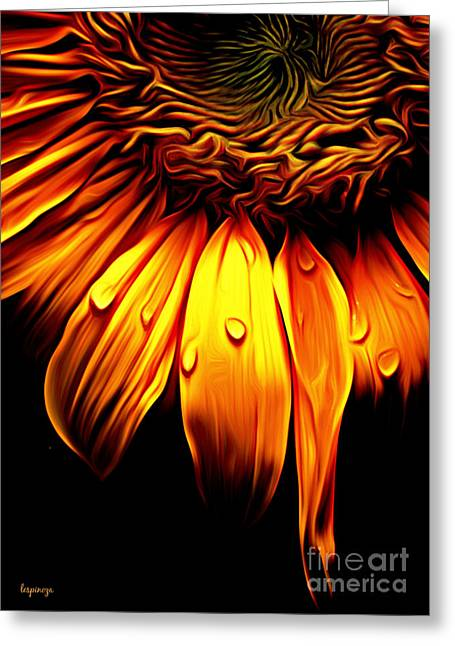Yellow Sunflower Greeting Cards - Morning Dew Greeting Card by Larry Espinoza