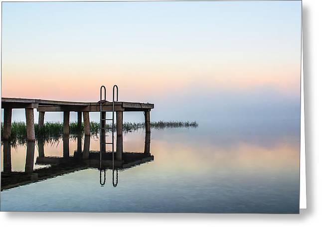 Bedroom Art Greeting Cards - Morning Dock Greeting Card by Shelby  Young