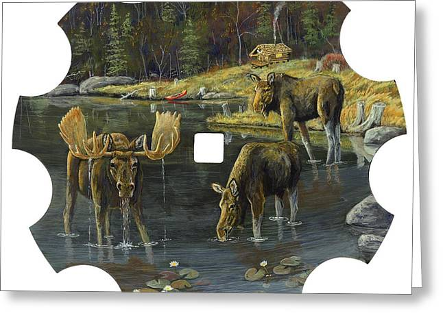 Disk Paintings Greeting Cards - Morning Drink - Moose Greeting Card by Susan Zabel