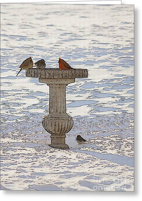 Feeder Framed Prints Greeting Cards - Morning Feeding Greeting Card by Jennifer White