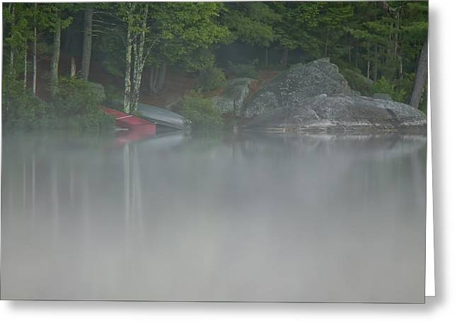 Canoe Greeting Cards - Morning Fog Greeting Card by Stephen Anthony