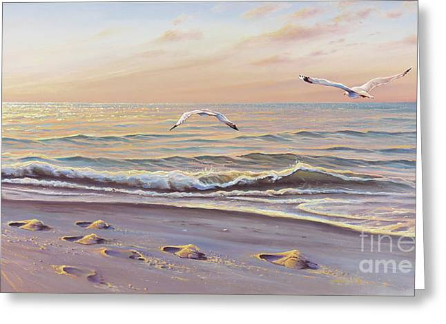 Footsteps Greeting Cards - Morning Glisten Greeting Card by Joe Mandrick