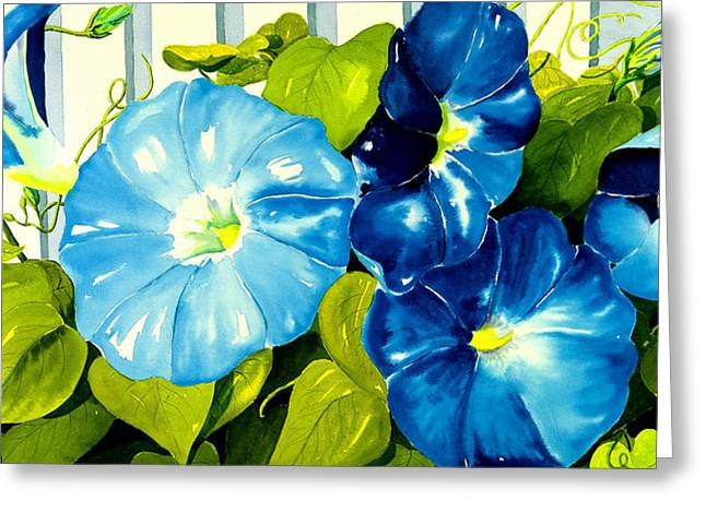 Morning Glories Greeting Cards - Morning Glories in Blue Greeting Card by Janis Grau