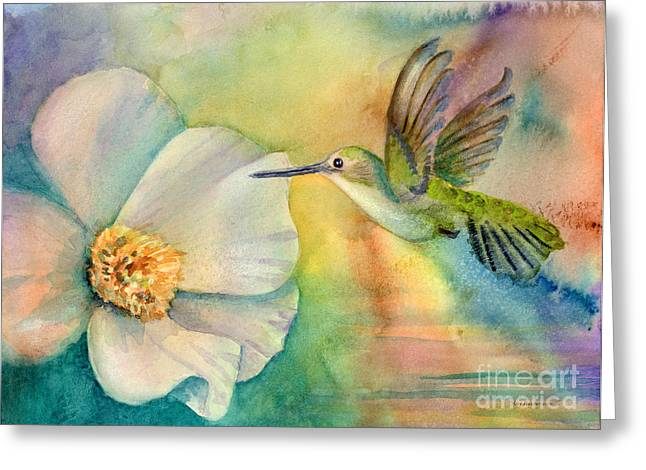 Hummingbirds Greeting Cards - Morning Glory Greeting Card by Amy Kirkpatrick