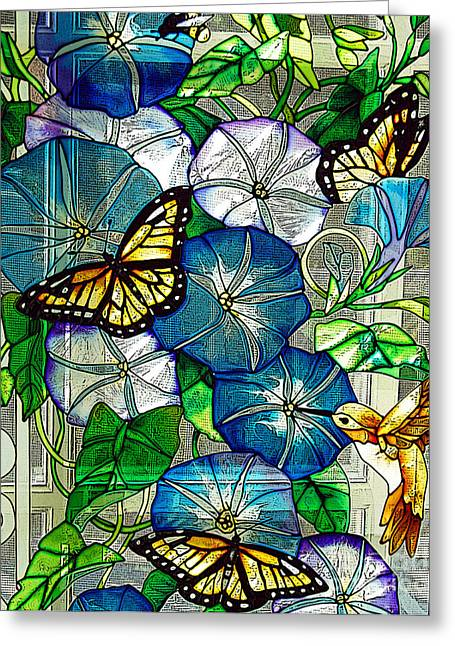 Berry Drawings Greeting Cards - Morning Glory Greeting Card by Diane E Berry