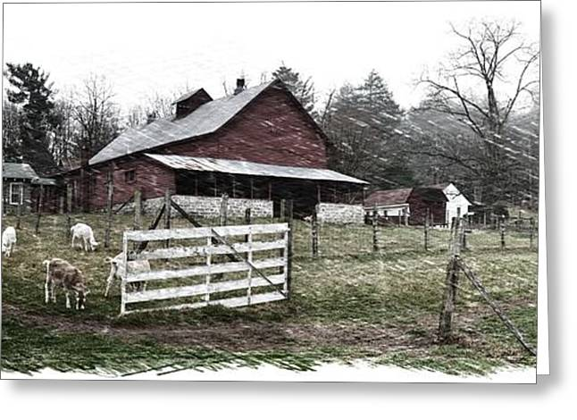 Historic Site Greeting Cards - Morning Goat Graze Sketch Greeting Card by Gary Conner