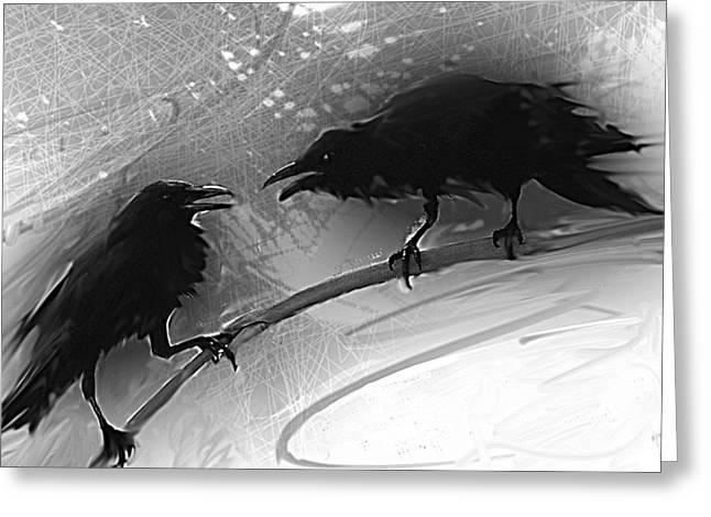 Raven Mixed Media Greeting Cards - Morning has Broken Greeting Card by Maria Eames