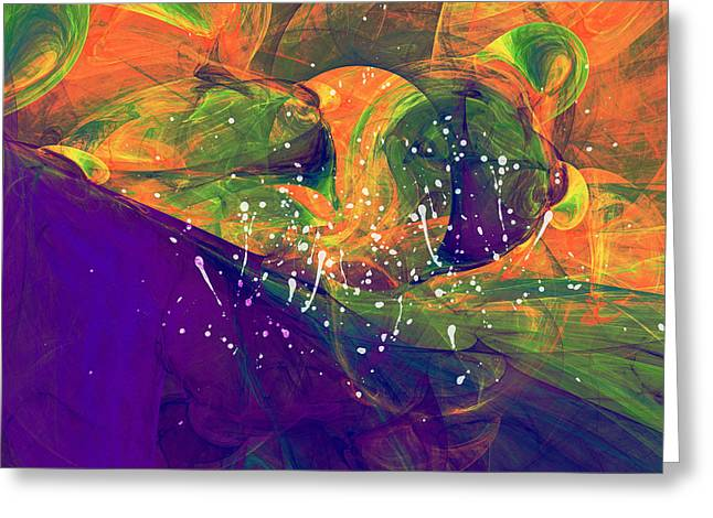 Heat Mixed Media Greeting Cards - Morning Heat Abstract Greeting Card by Georgiana Romanovna