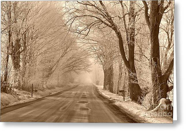 Ice Fog Greeting Cards - Morning Ice And Fog Greeting Card by Deborah Benoit