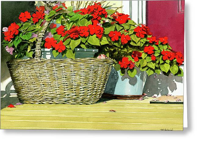 Morning Impatiens Greeting Card by Tom Hedderich