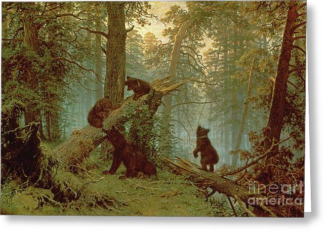 Climbing In Greeting Cards - Morning in a Pine Forest Greeting Card by Ivan Ivanovich Shishkin