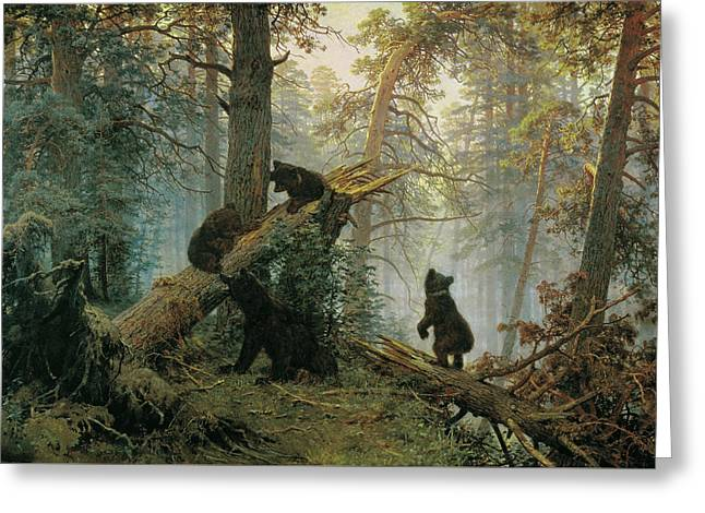 Morning In A Pine Forest Greeting Card by Ivan Shishkin and Konstantin Savitsky