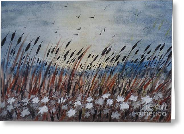 Recently Sold -  - Fall Scenes Greeting Cards - Morning in Cattails Greeting Card by David K Myers
