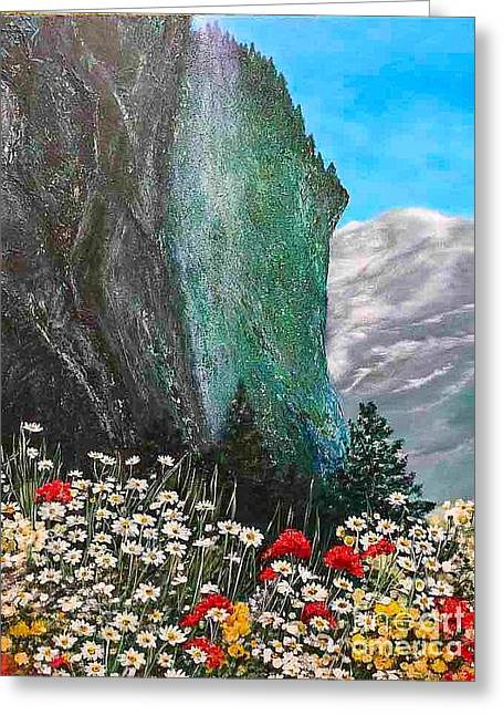 Pallet Knife Greeting Cards - Morning In Mountains  Greeting Card by Viktoriya Sirris