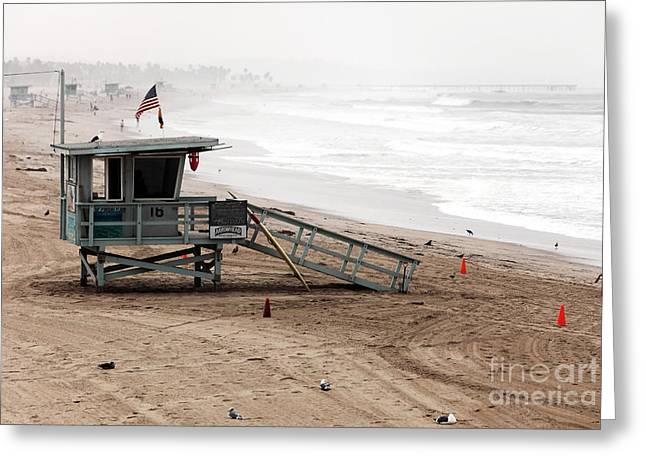 Pacific Ocean Prints Greeting Cards - Morning in Santa Monica Greeting Card by John Rizzuto