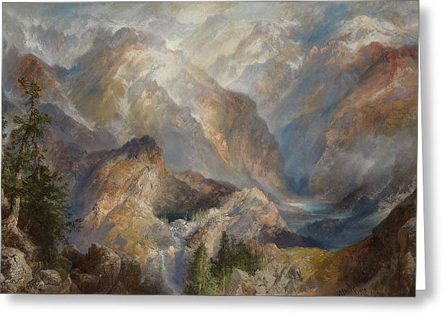 River View Greeting Cards - Morning in the Sierras Greeting Card by Thomas Moran
