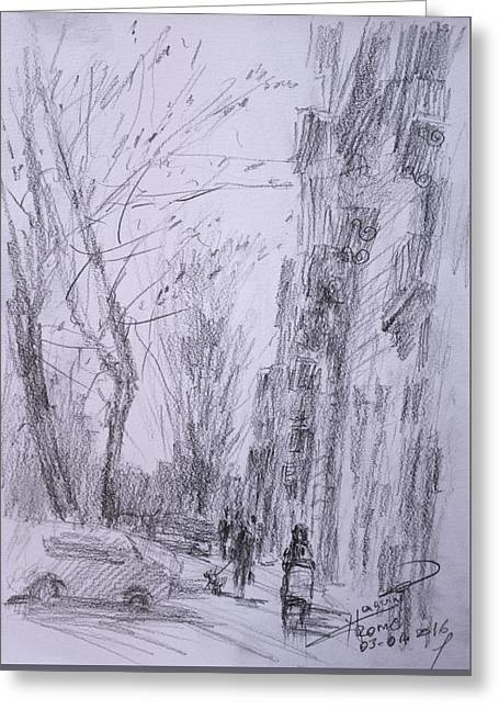 morning in Via Nomentana Rome Greeting Card by Ylli Haruni
