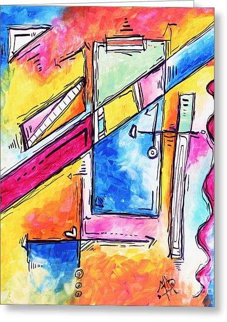Geometric Artwork Greeting Cards - MORNING JOURNEY Original Abstract Pop Art Style Colorful Abstract Painting Greeting Card by Megan Duncanson