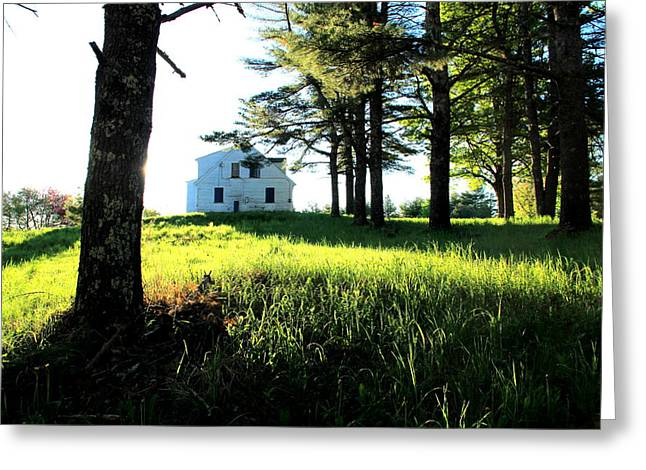 Maine Farmhouse Greeting Cards - Blue Shutters Greeting Card by Laurie Breton
