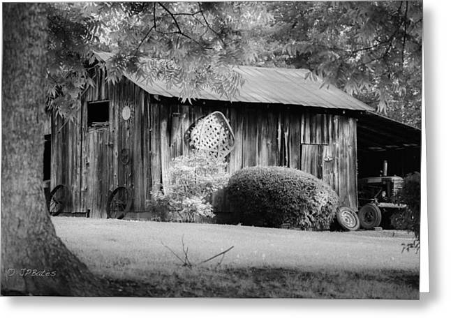 Sheds Greeting Cards - Morning Light - B/W Greeting Card by J P Bates