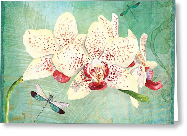 Swirly Greeting Cards - Morning Light - Dancing Dragonflies Greeting Card by Audrey Jeanne Roberts