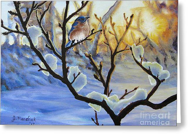 Winter Light Paintings Greeting Cards - Morning Light Greeting Card by Joe Mandrick