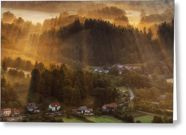 Morning Light Greeting Card by Piotr Krol (bax)