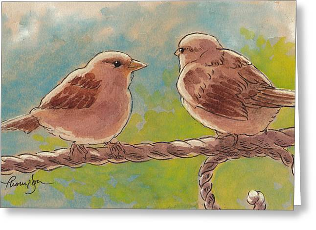 Morning Meeting Greeting Card by Tracie Thompson