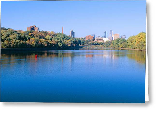 Mississippi River Scene Greeting Cards - Morning, Minneapolis, Minnesota Greeting Card by Panoramic Images