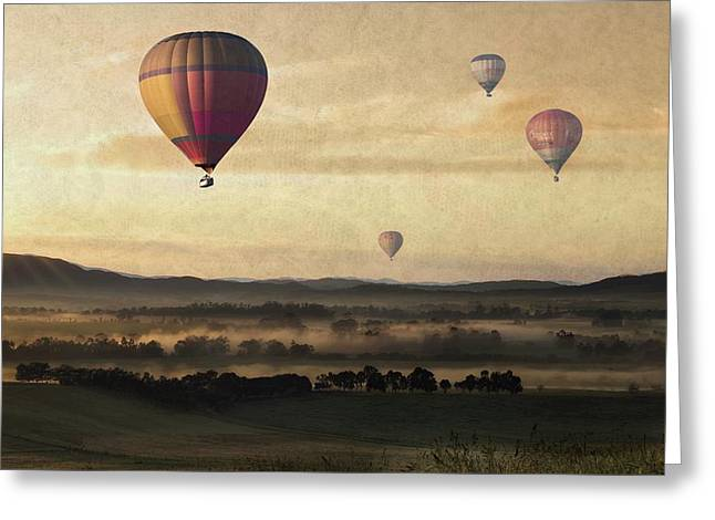 Morning Mist Balloon Ride Greeting Card by Movie Poster Prints