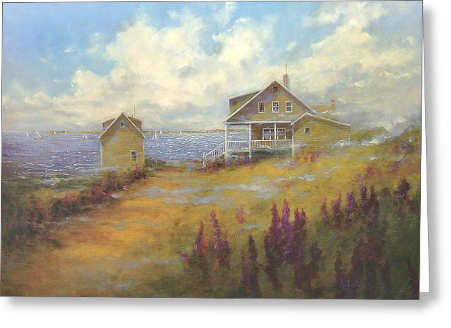 Maine Beach Greeting Cards - Morning Mist Greeting Card by Barbara Applegate