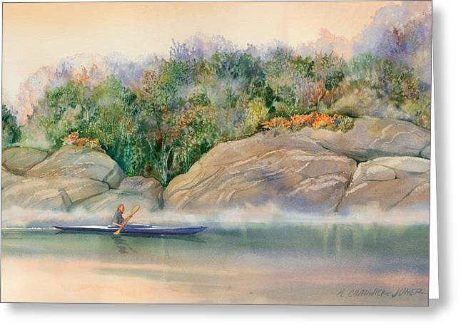 Mist Paintings Greeting Cards - Morning Mist High Island Greeting Card by Marguerite Chadwick-Juner