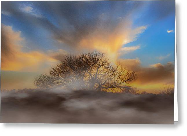 Ozarks Digital Art Greeting Cards - Morning Mist Greeting Card by James Wollard