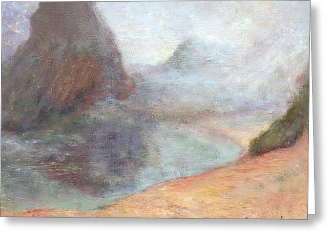 Sienna Greeting Cards - Morning Mist - Original Contemporary Impressionist Painting - Seascape with Fog Greeting Card by Quin Sweetman