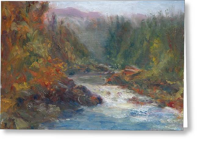 Sienna Greeting Cards - Morning Muse - Original Contemporary Impressionist River Painting Greeting Card by Quin Sweetman