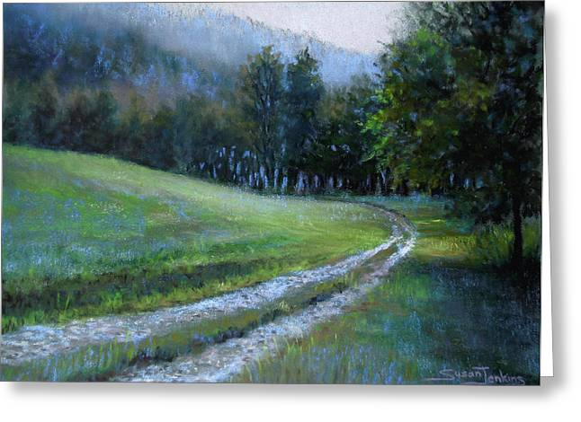 Fog Pastels Greeting Cards - Morning on Blue Mountain Road Greeting Card by Susan Jenkins