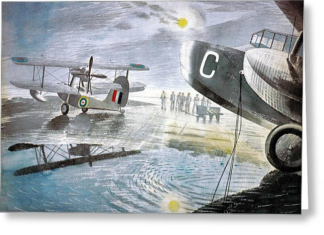 Spitfire Mixed Media Greeting Cards - Morning on the Tarmac Greeting Card by Eric Ravilious