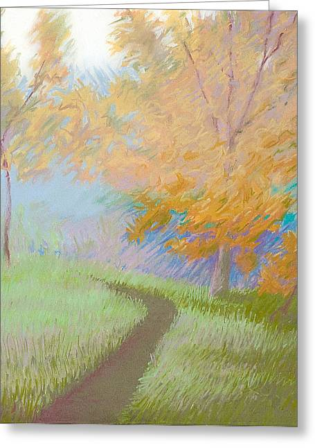 Fall Grass Pastels Greeting Cards - Morning Path 2 Greeting Card by Bruce Richardson