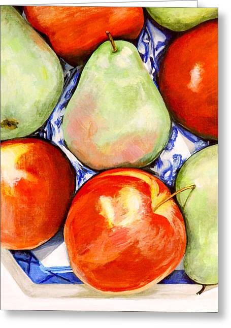 Still Life With Green Apples Greeting Cards - Morning Pears and Apples Greeting Card by Mary Chant