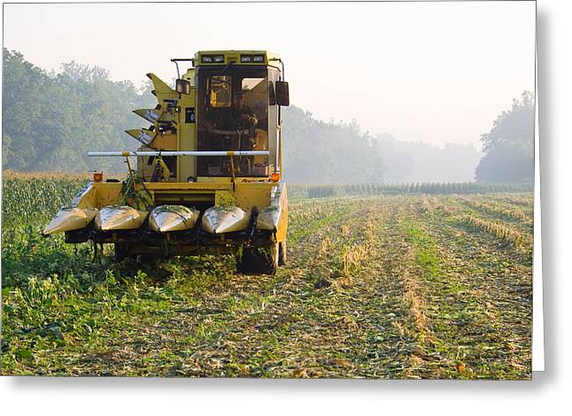 Corn Picker Greeting Cards - Morning Picking Greeting Card by Tim  Fitzwater