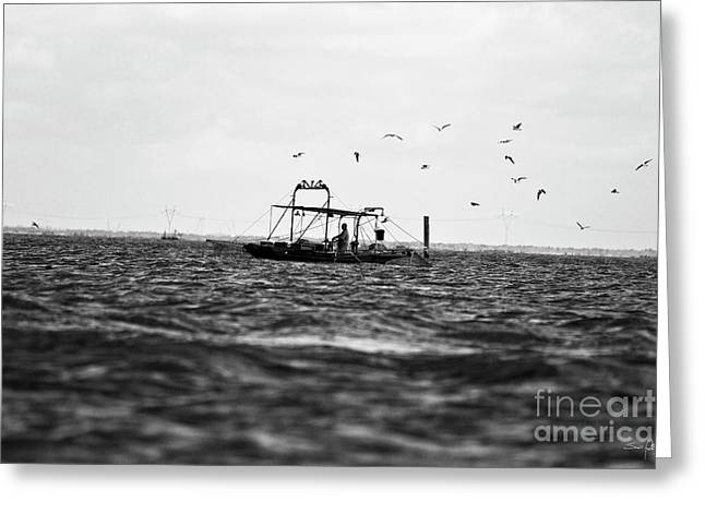 Shrimpers Greeting Cards - Morning Push Greeting Card by Scott Pellegrin