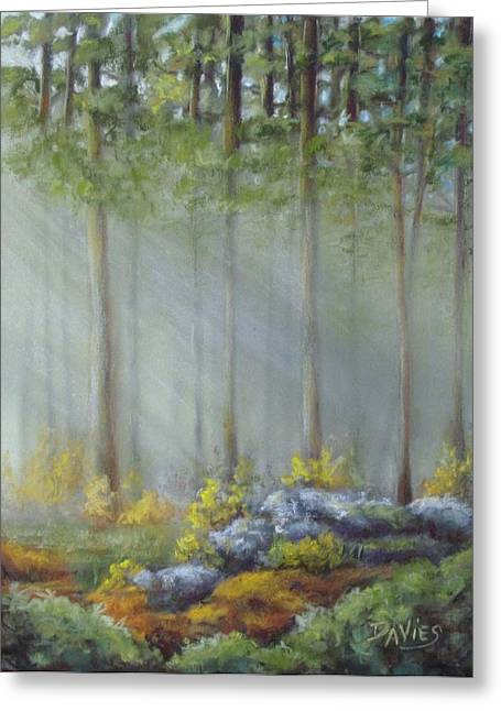 Moss Green Pastels Greeting Cards - Morning Rays Greeting Card by Debra Davies